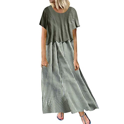 - Sunhusing Women Two-Piece Solid Color Cotton Linen Printed Round Neck Short-Sleeve Top+Striped Plaid Print Dress Green