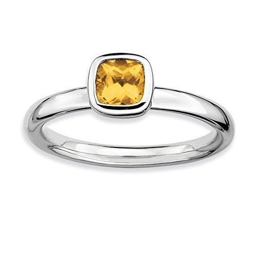 Silver Stackable Cushion Cut Citrine Solitaire Ring, Size 6