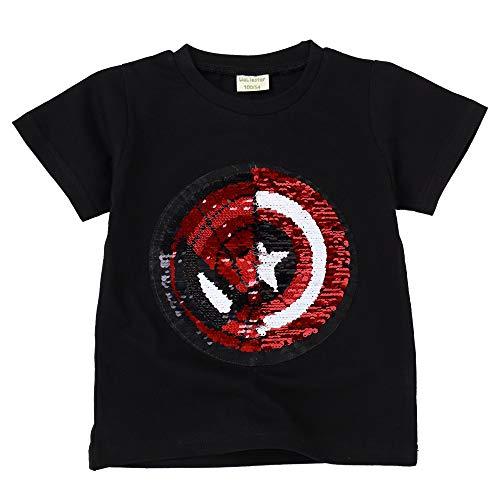 Little Boys Flip Sequin T-Shirt Cotton Crewneck Short Sleeve Tees Tops 3-8T (5T/120, Black)]()