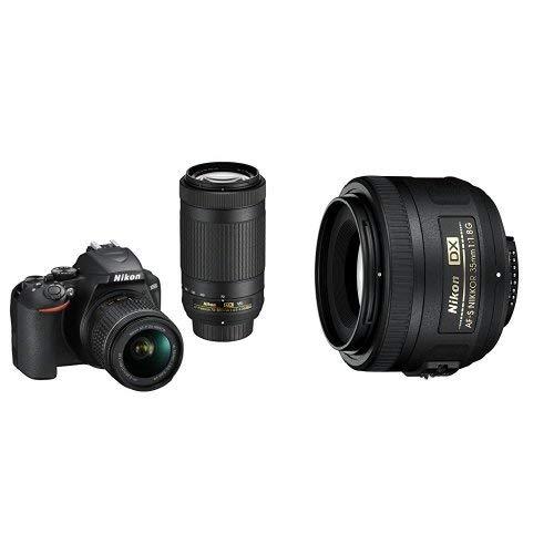 Nikon D3500 DX-Format DSLR Two Lens Kit with AF-P DX NIKKOR 18-55mm & AF-P DX NIKKOR 70-300mm, Black with 35mm F/1.8G Lens