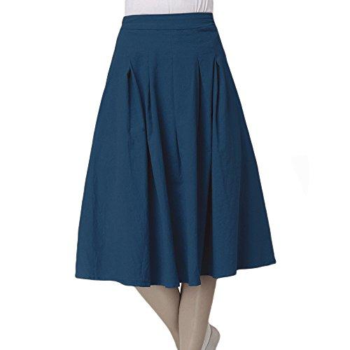 Kaachli Women's Linen Flared Long Pleated Midi ExpansionSkirt (Green) ()