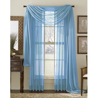 2 Piece Solid Baby Blue Sheer Curtains Panels Window Treatment Drape 55quot