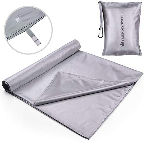 The Friendly Swede Sleeping Bag Liner - Travel and Camping Sheet, Pocket-Size, Ultra Lightweight, Silky Smooth (Grey, Velcro)