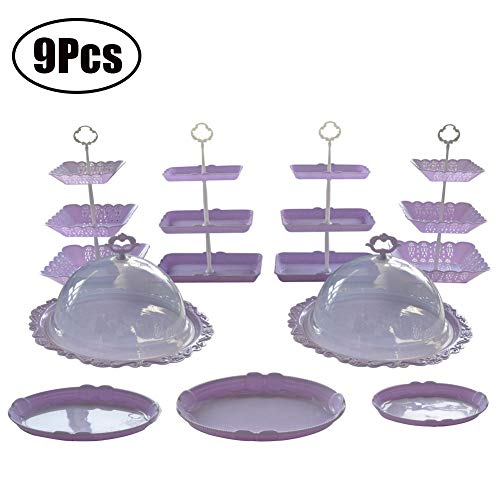 (Purple Dessert Stand Set of 9 Pcs Includes 3 Tier Rectangle Cupcake Holder Square Fruit Plate Round Donut Serving Tray with Lid Oval Platter for Wedding Birthday Party Decoration)