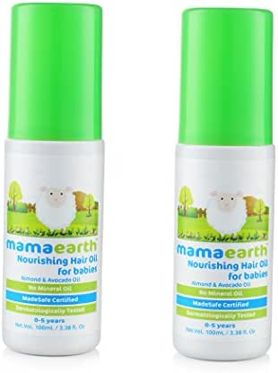 Nourishing Baby Hair Oil with Almond & Avocado for Babies and Kids (Pack of 2), Made in the Himalayas- Hypoallergenic, Toxin-free, All Natural with Organic Ingredients