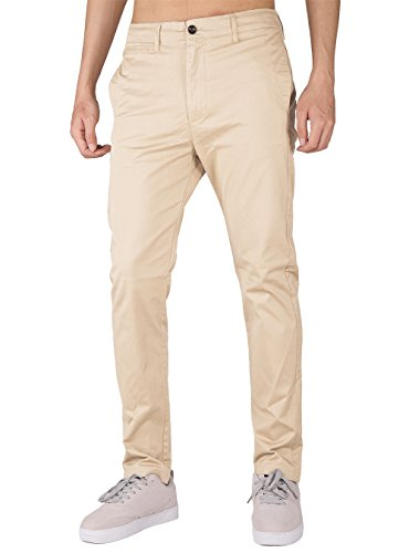 Mens Cream Dress Pants - THE AWOKEN Men's Stretchy Casual Trousers Chino Pants Skinny Style (Cream Khaki, S)