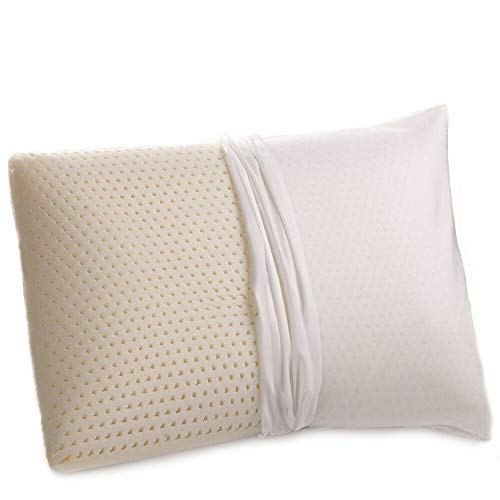 100% Natural Talalay Latex Pillow with Removable Organic Cover King-Firm