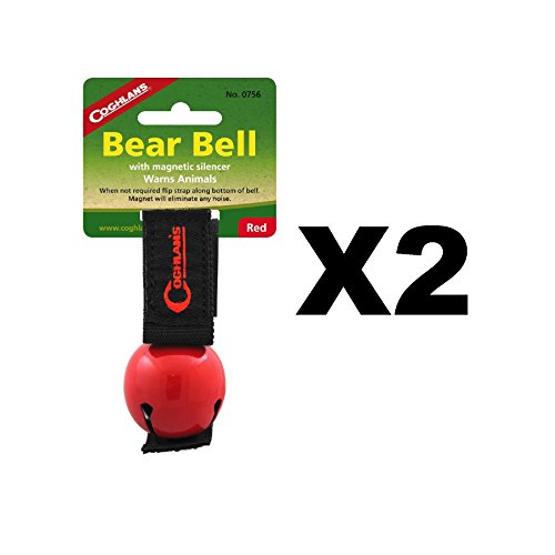 Coghlan's Bear Bell Red w/Magnetic Silencer & Loop Strap Warns Animals (2-Pack) by Coghlan's