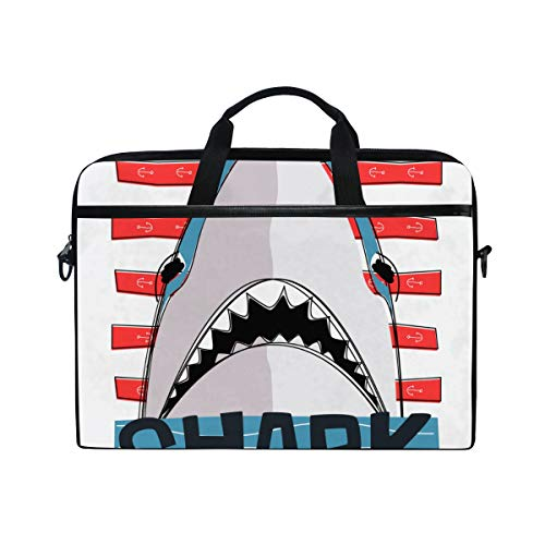 Most Dangerous Sharks - TARTINY 15-15.4 Inch Laptop Bag Dangerous Shark Striped Background Vector Shoulder Messenger Bags Sleeve Case Tablet Briefcase with Handle Strap