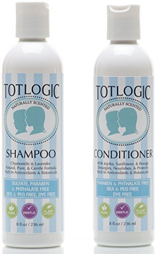 TotLogic Kids Shampoo & Conditioner Set - Sulfate and Paraben Free, Phthalate Free, Non-Toxic Plant Based Natural Formulas - Gentle & Hypoallergenic for Senstive Skin, Scented with Essential O