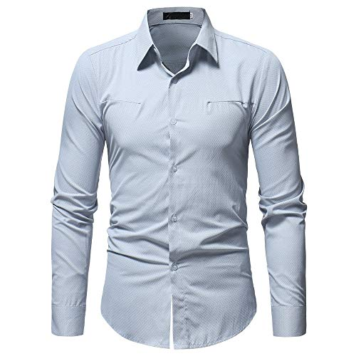 (Corriee Mens Business Shirts Classic Solid Color Lapel Long Sleeve Button Down Tunic Tops Men's Formal Shirt White)