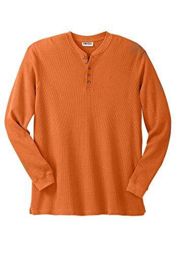 Kingsize Men's Big & Tall Waffle Knit Thermal Henley Shirt, Harvest Orange