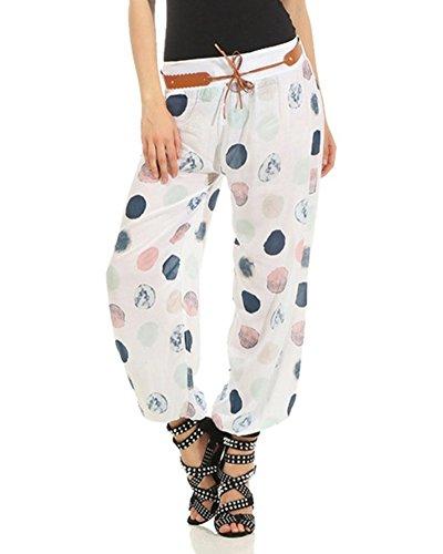 Femme Pantalon Bouffant Stretch A La Taille Floral Imprime Pantalon Blanc