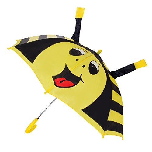 AERUSI Children's Bumble Bee Automatic Umbrella with Safety whistle ,Black and Yellow,Kid's -