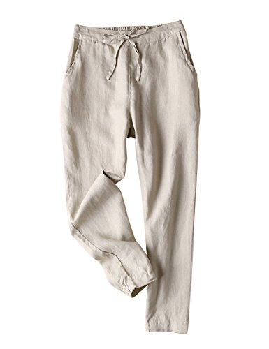IXIMO Women's Tapered Pants 100% Linen Drawstring Back Elastic Waist Pants Trousers with Pockets (Khaki, S) ()