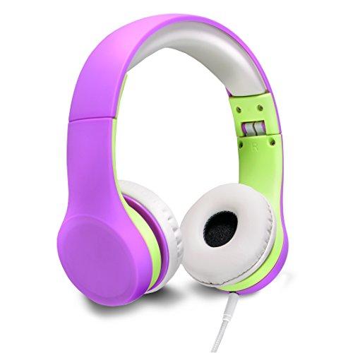 Nenos Children Headphones Kids Headphones Children's Headphones Over Ear Headphones Kids Computer Volume Limited Headphones for Kids Foldable (Purple/Lime)