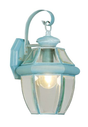 (Livex Lighting 2151-06 Monterey 1 Light Outdoor Verdigris Finish Solid Brass Wall Lantern with Clear Beveled Glass)