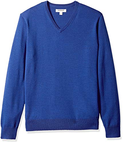 - Goodthreads Men's Merino Wool V-Neck Sweater, Bright Blue, X-Large