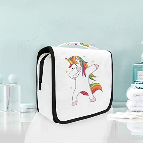 Hanging Toiletry Bag Portable Cosmetic Makeup Magic Raibow Hair Unicorn Travel Organizer for Men & Women with Sturdy Hook -