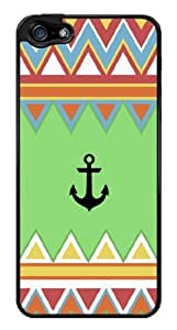 Colorful Aztec Pattern Chevron Zig Zag Anchor Snap-On Cover Hard Plastic Case for iPhone 5/5S (Black)