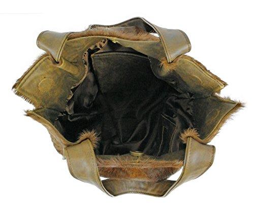 Zerimar Borsa a tracolla in pelle per donna Borsa a tracolla con grande capacità Pelle morbida Colore Marrone Misure: 36x40x5 cm