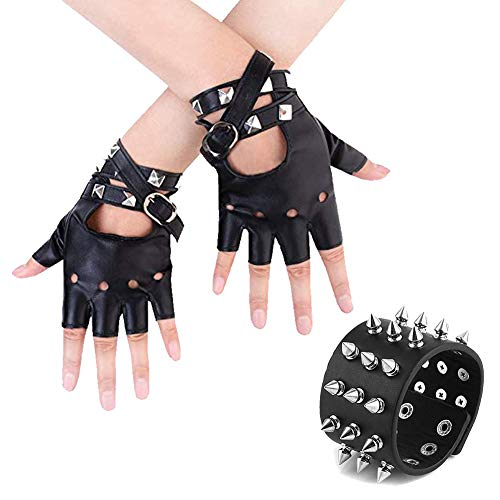 Womens Punk Rock Fingerless Gloves PU Leather Cosplay Costume Party with Black Metal Spike Studded Punk Rock Biker Wide Strap Leather -