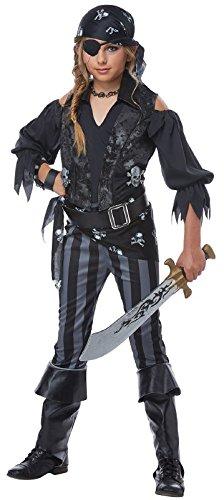 Crossbone Pirate Belt Buckle - Rebel Pirate Girls Costume Black/Gray