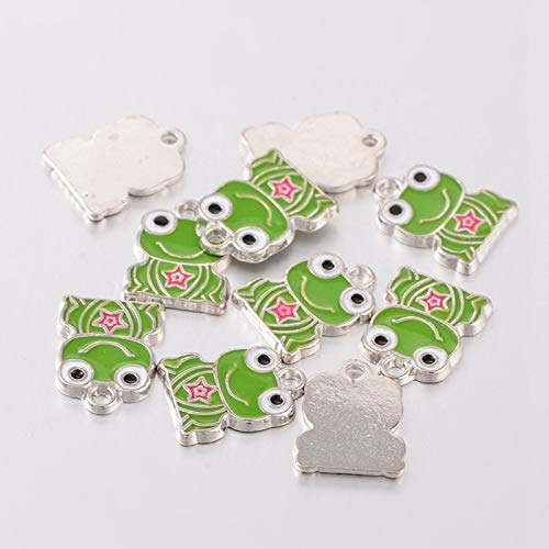 Charm Frog Enamel - Craftdady 10PCS Platinum Silver Tone Frog Alloy Enamel Pendants Charms Beads for Jewelry Making, Lead Free & Cadmium Freel, 17x13mm