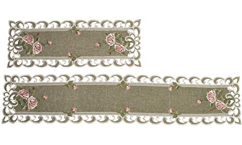 Set of 2, Table Runner with a Pink Rose and Sage Green Burlap Linen Fabric, Coffee Table Scarf, Toilet Lid Scarf, Size 8