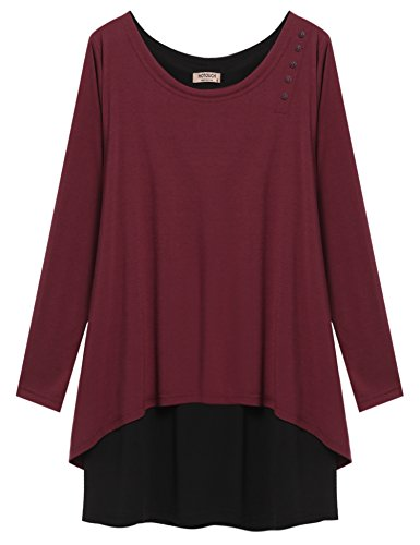 Hotouch Women Casual Cute Long Sleeve Layered T Shirt(Wine red, S)