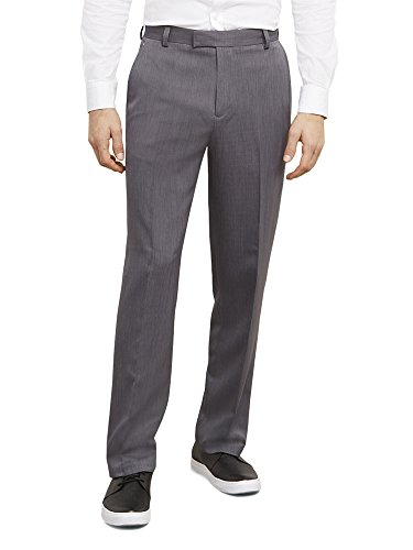 Kenneth+Cole+Reaction+Mens+Textured+Stria+Flat+Front+Pant%2C+Grey%2C+33x32