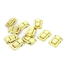 Uxcell a14093000ux0008 10 Piece Jewelry Box Latch Hasp Pad Chest Lock Hook Hinge Brass Tone