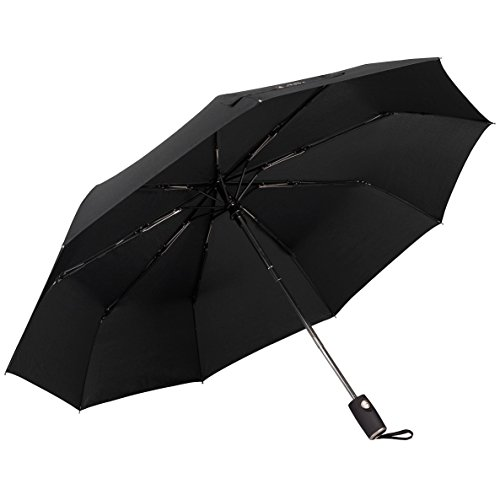 Umbrella. Folding Umbrella with Automatic Open-Close. Compact, Light, Windproof Umbrella with 9 Carbon Fiber Ribs. 210T Fabric. Mens and Ladies Umbrella. Guarantee (9 Ribs Large, Navy Blue)