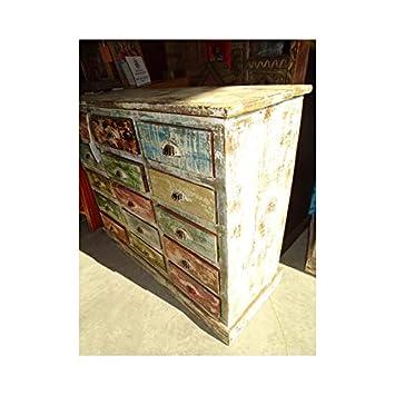 int. dailleurs - Cajonera de mercería de Teca Reciclado con 15 cajones patinados en Colores Pastel - PAL319: Amazon.es: Hogar