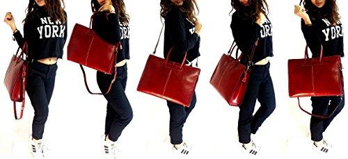 Con Made Spalla Rosso Shopper Borsa Donna Deep Liscio Mano Pelle Regolabile Cuoio In Vera Tracolla Italy Rose Emilia Art A 6Ww8gq4