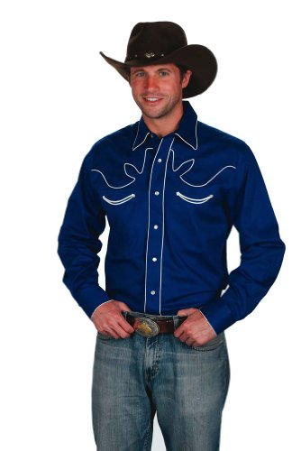 Mens 100% Cotton Retro Western Cowboy Shirt