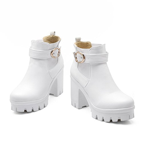 High Pull high Allhqfashion White Boots Solid Ankle On PU Heels Women's BXfXq0