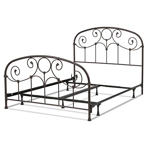 Leggett & Platt Grafton Complete Metal Bed and Steel Support Frame with Prominent Scrollwork and Decorative Castings, Rusty Gold Finish, Twin