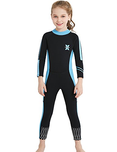 DIVE & SAIL 2.5mm Neoprene Pretty Design Sun Protection Girls Wetsuit for Swimming Keep Warm(Blue & Black,XL)