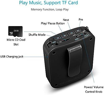 Amplificadores Portable Voice Meg/áfonos Pr/ácticos y /Útiles con Auriculares con Micr/ófono Para Conferencias MIFA Mini Amplificador Portatil Recargable Profesores Visitas Guiadas y Entrenador Negro