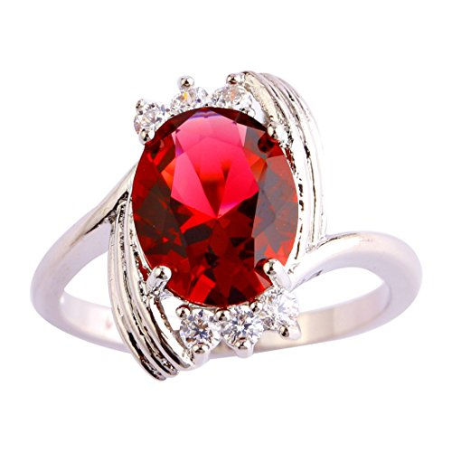 Comfort Fit Cathedral Solitaire (Psiroy 925 Sterling Silver Elegant Lady's Oval Cut Ruby Spinel Filled)