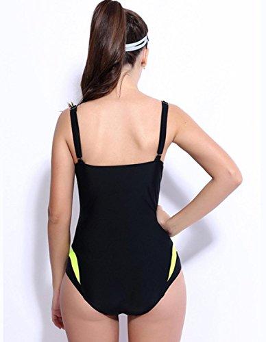 HZZ Para mujer de baño de una pieza del traje de baño redondo Scoop Deportes traje de natación blue yellow mosaic