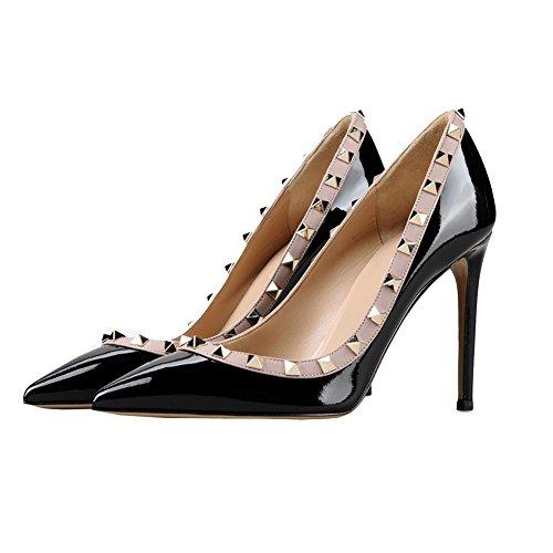 Tacones Patente Zapatos para Tacones Sexy MERUMOTE Bombas altos negro finos con día remaches Ropa vestir Punta medios y estrecha mujer para de 8qrg1y8Ow
