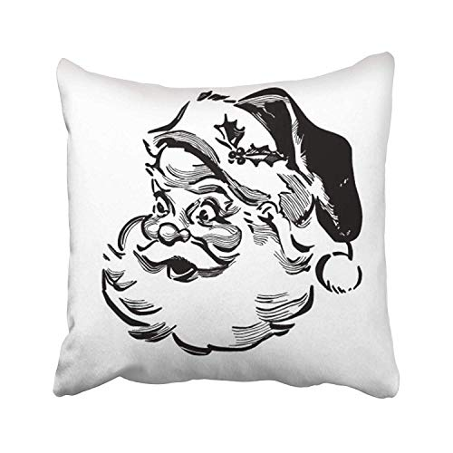 (FJPT Throw Pillow Cover Vintage Santa Retro Clip Christmas Claus Clipart Fifties Xmas Nick 50S Cotton Pillowslip for Sofa Bed Stand Size Pillowcase 26x26 Inch)