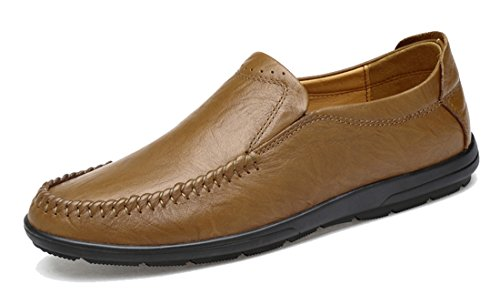 Walking Leather Casual Hiking TDA Stitching On Shoes Khaki Driving Penny Mens Slip Loafers nTx1B