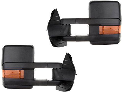 (APA Chevy Silverado GMC Sierra Truck 14 - 16 Textured Black Tow Power Heat LED Signal with Clearance Lamp Mirror Set)