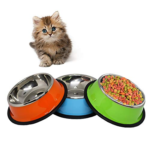 Welcomnny 3 PCS Cat Bowl, Pet Bowls Food Bowl, Anti-Slip Non-Spill Stainless Steel Bowl for Pet