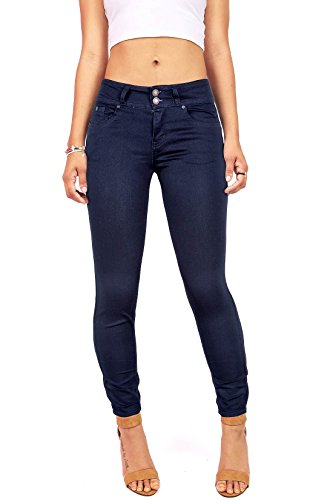Wax Women's Juniors Stretchy Mid-Rise Skinny Jeans w Flattering Fit (1, Navy)