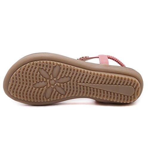 Elegantes Super Lee Moda Retro Sandalias con Dedo Romanas Mujer del Cuentas Zapatos Sandalias del Bohemia Planas Clip de Sandalias Rosa Pie Verano rrdwzq78