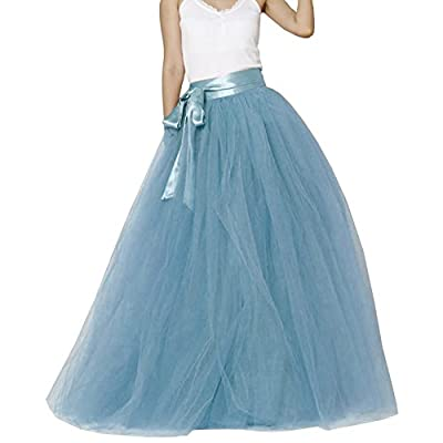 Dydsz Women's Long Skirt Tulle Floor Length for Evening Party Wedding Skirts Tutu D211